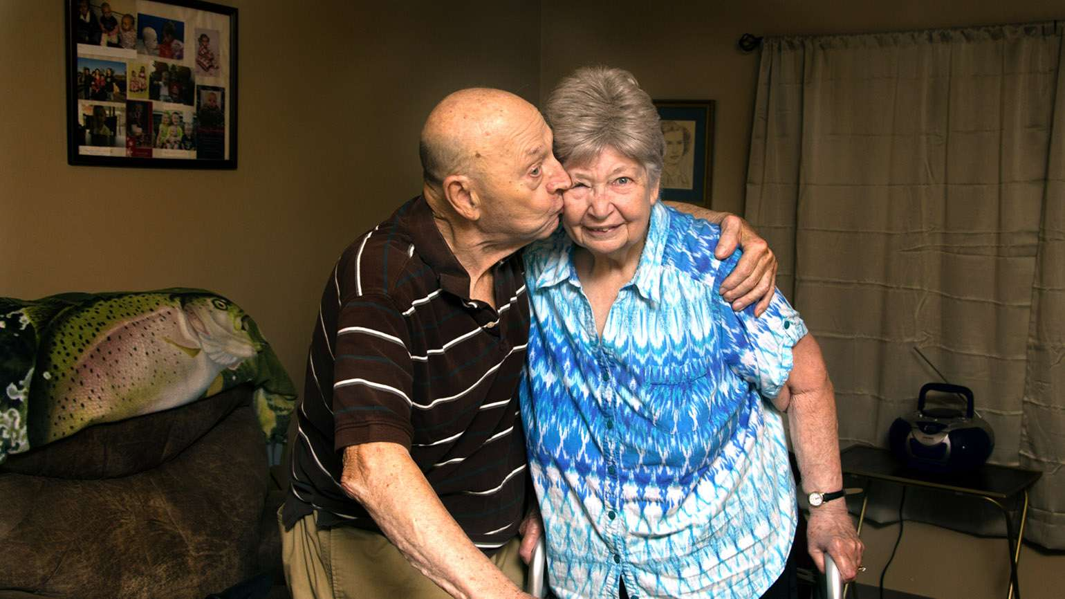 James Motter kisses his wife Eileen. The Ohio couple has been married 65 years.