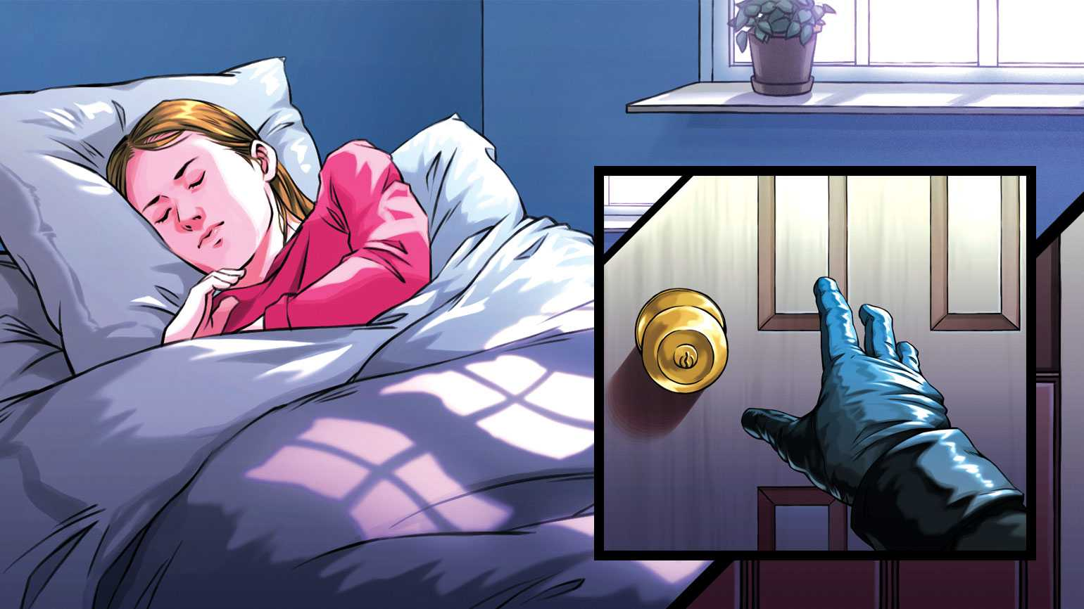An artist's rendering of a woman sleeping on the left and a hand reaching for the doorknob on right.