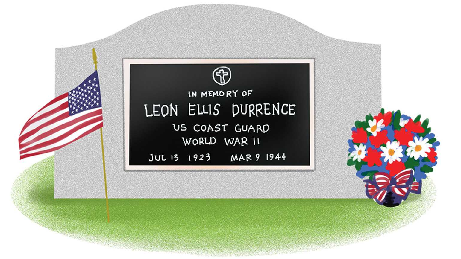A polished tombstone of a World War 2 US Coast Guard Leon Ellis Durrence adorned with a bouquet of flowers and a small American flag.