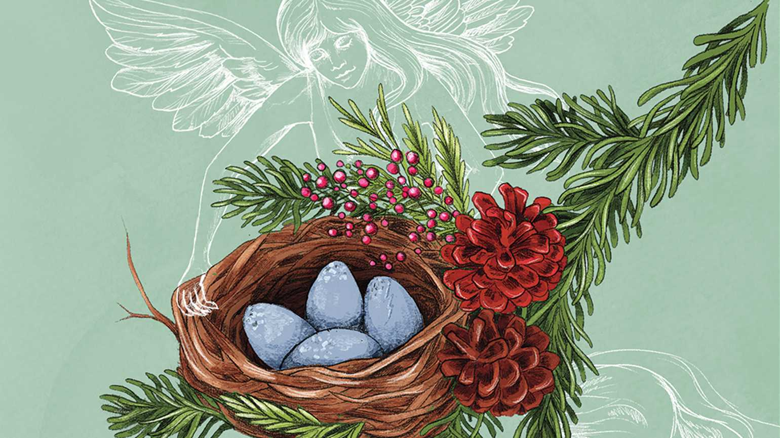 An artist's rendering of an angel holding a nest of blue eggs.