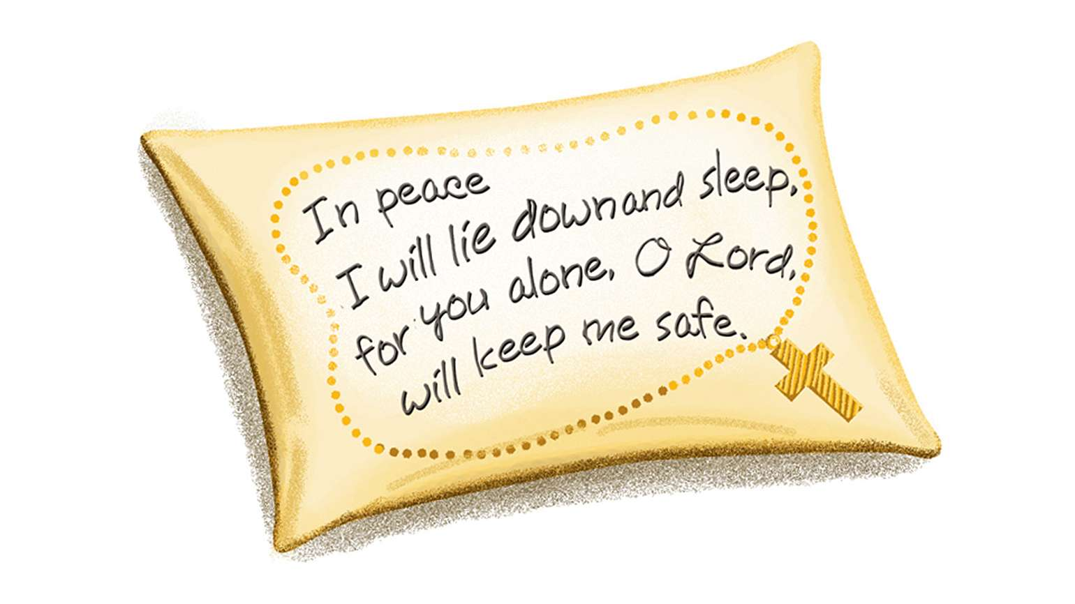 An artist's rendering of a pillowcase with scripture embroidered on it