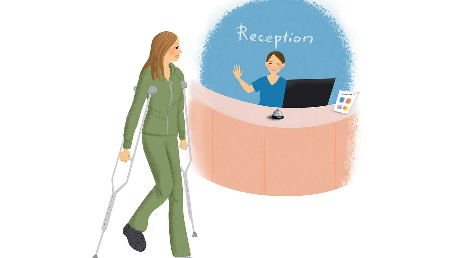 An illustration of a woman with crutches visiting the reception desk as a friendly nurses greets her with a wave.