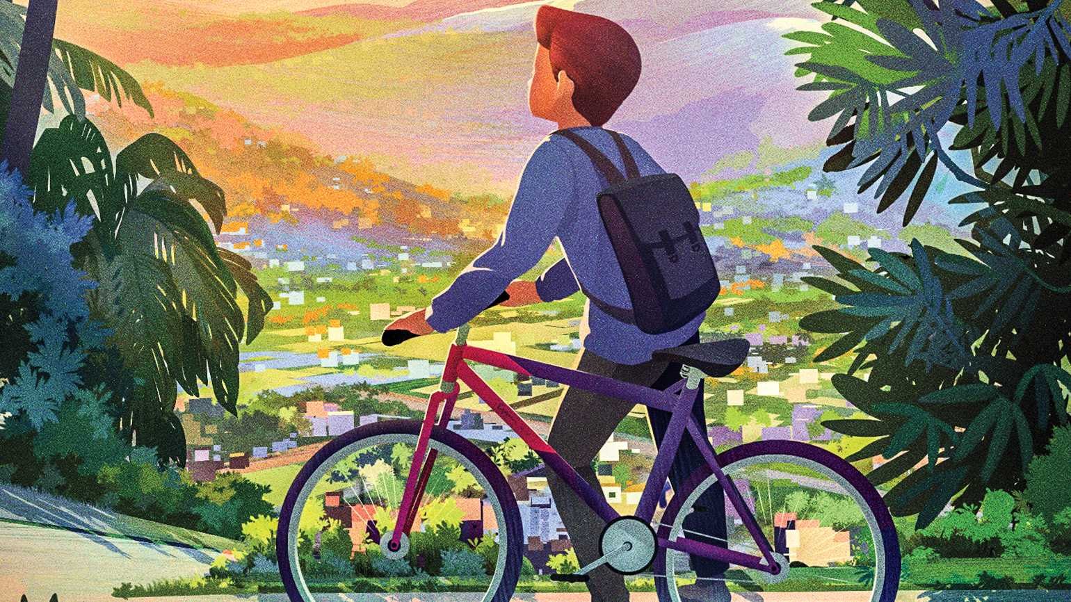 An artist's rendering of a young boy on a bike.