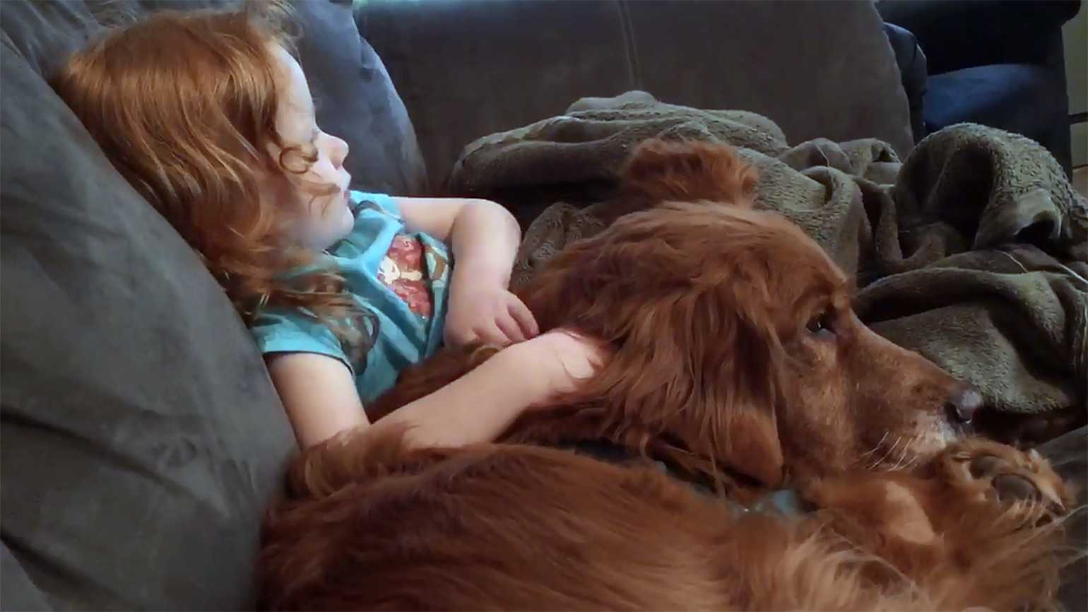 Peggy's granddaughter Grace with her dog, Ernest