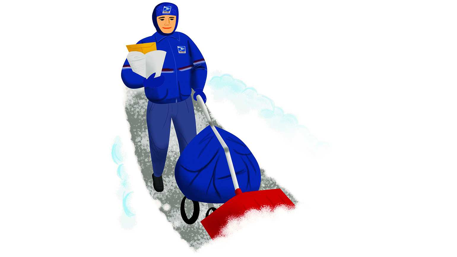 An illustration of a warmly dressed mail carrier shoveling the sidewalk with envelopes under his arm.