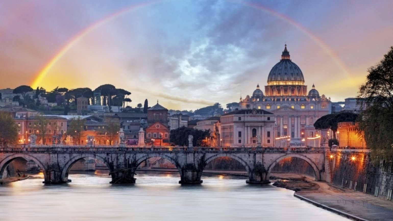 Praying in Rome - rainbow over the Vatican