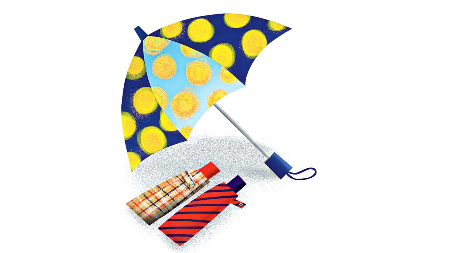 An illustration of three beautifully patterned umbrellas.