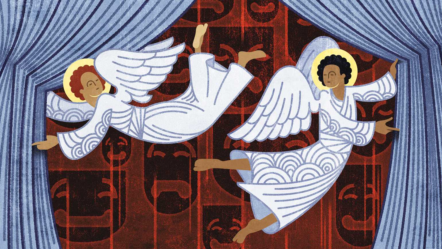 An artist's rendering of a pair of angels pulling stage curtains open