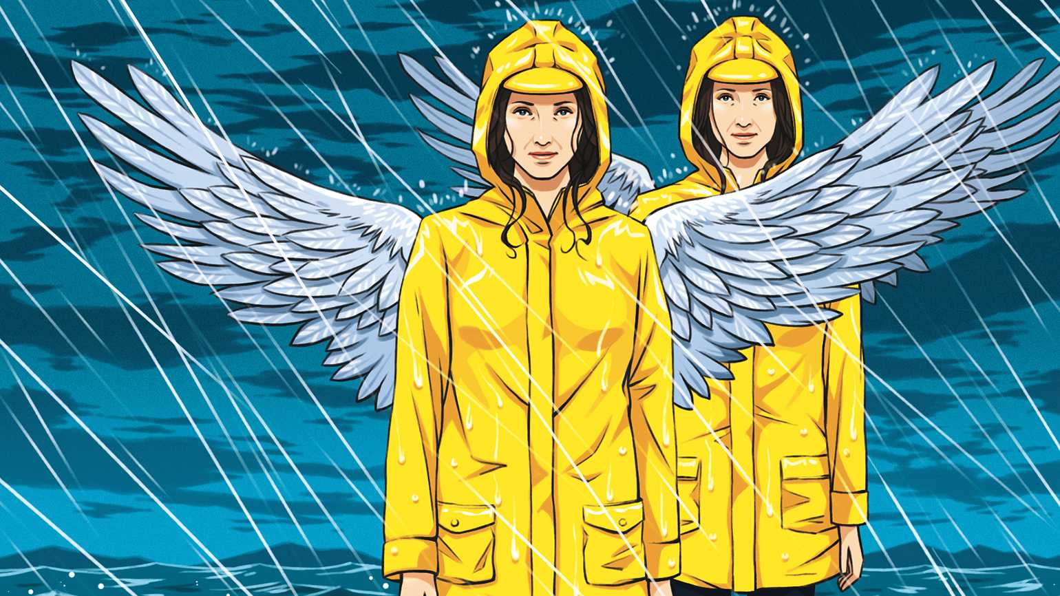 An artist's rendering of a pair of angels in yellow raincoats and caps