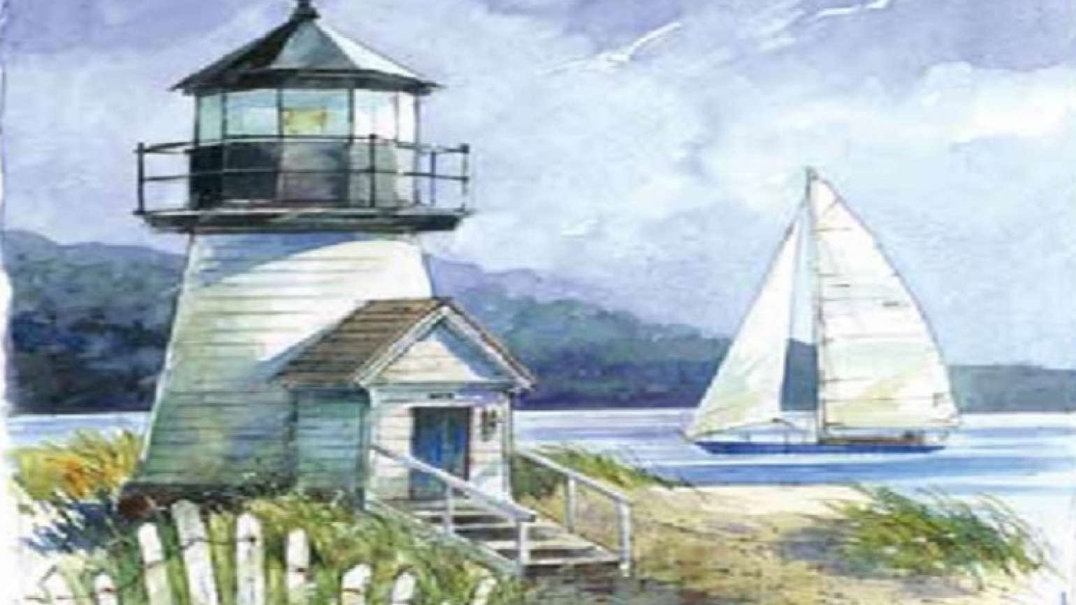 A sailboat and lighthouse illutration from a Someone Cares card