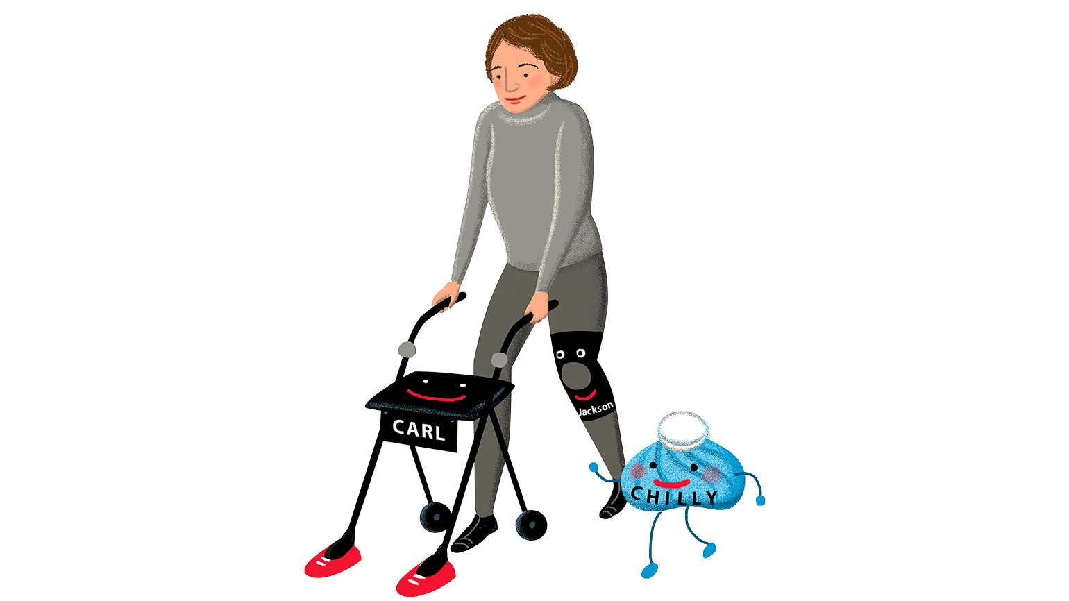 An artist's rendering of a woman with a walker