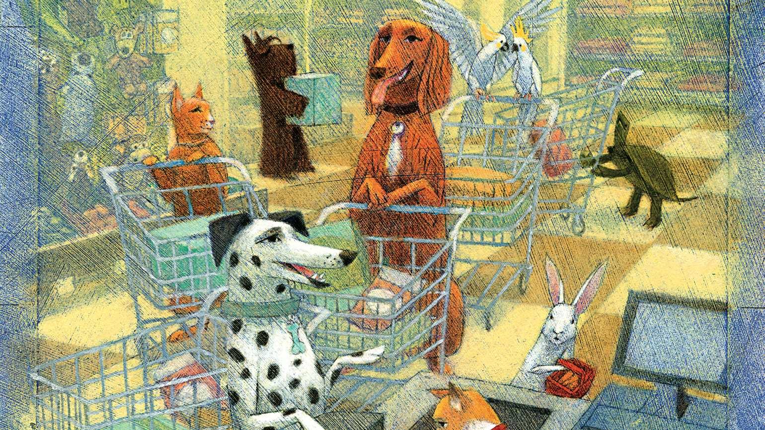 An illustration of various domestic pets shopping with grocery carts in a supermarket.