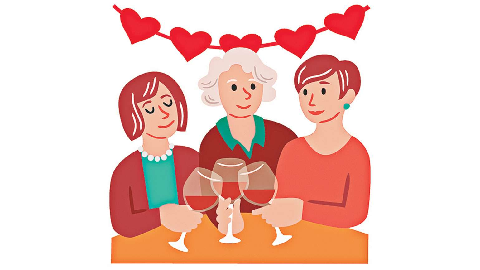 An artist's rendering of three women sharing a Valentine's Day lunch