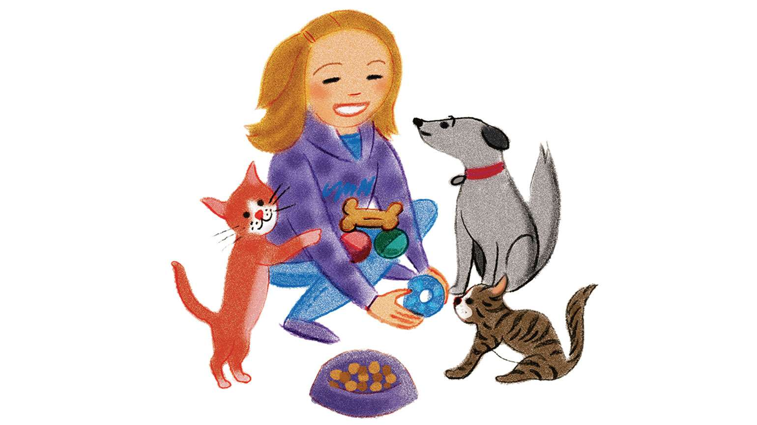 An artist's rendering of a young girl feeding dogs and cats