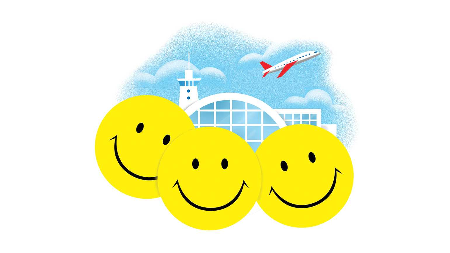 An artist's rendering of three smiley faces in front of an airport.