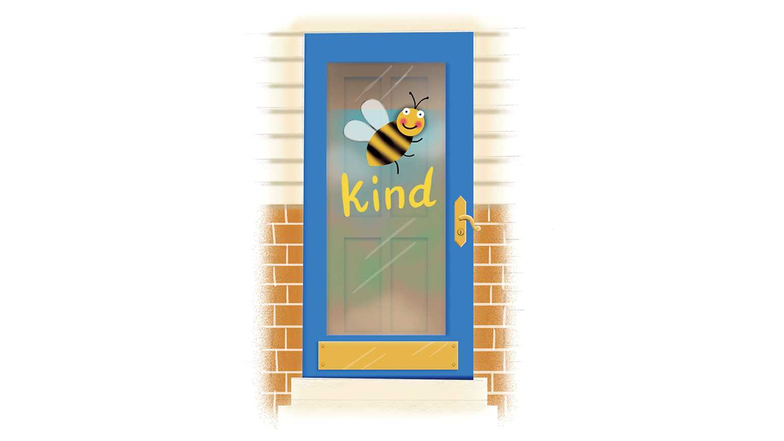 """An artists rendering of a decorated door with a bee and """"kind"""" written."""