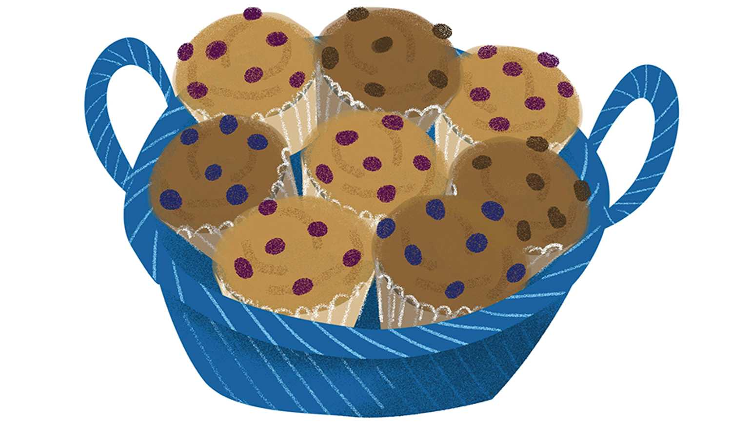 A blue basket full of assorted fresh muffins.