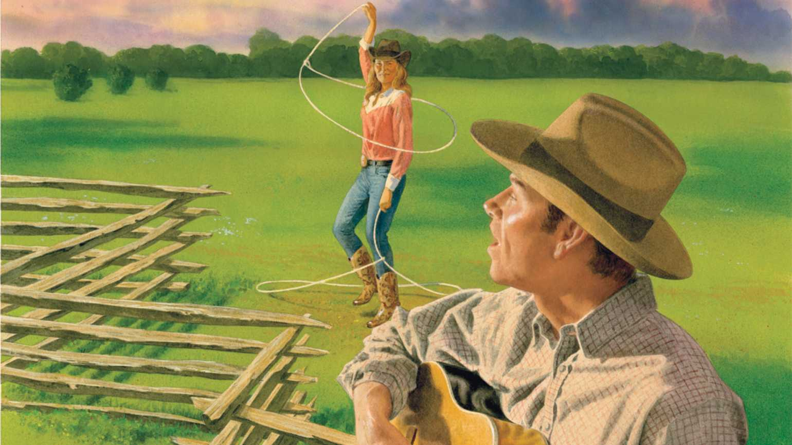 An artist's rendering of a cowboy serenading a lariat-twirling cowgirl