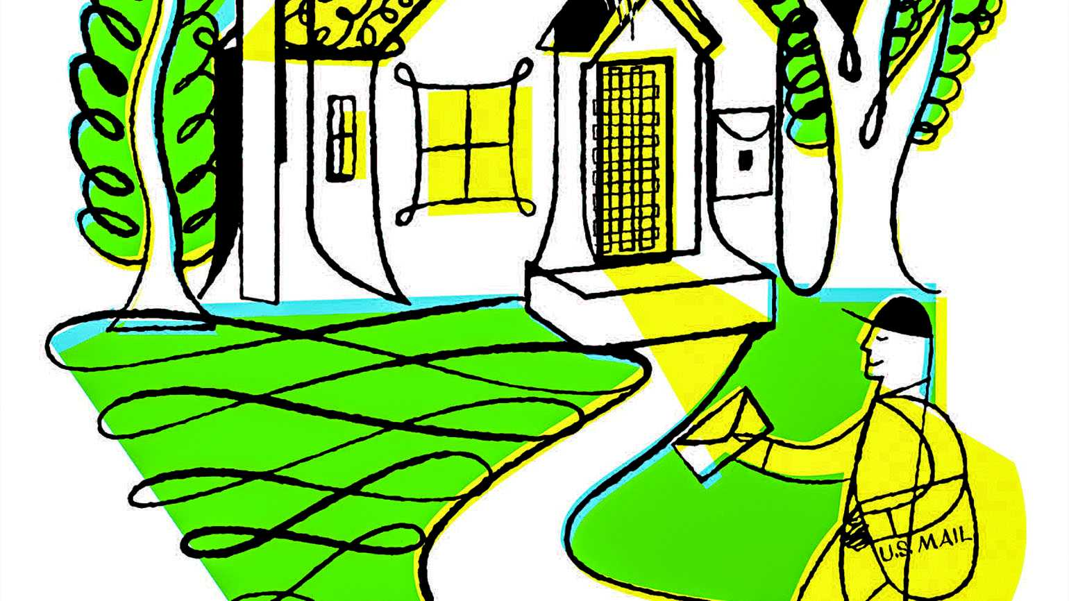 Illustration of a postman approaching a house