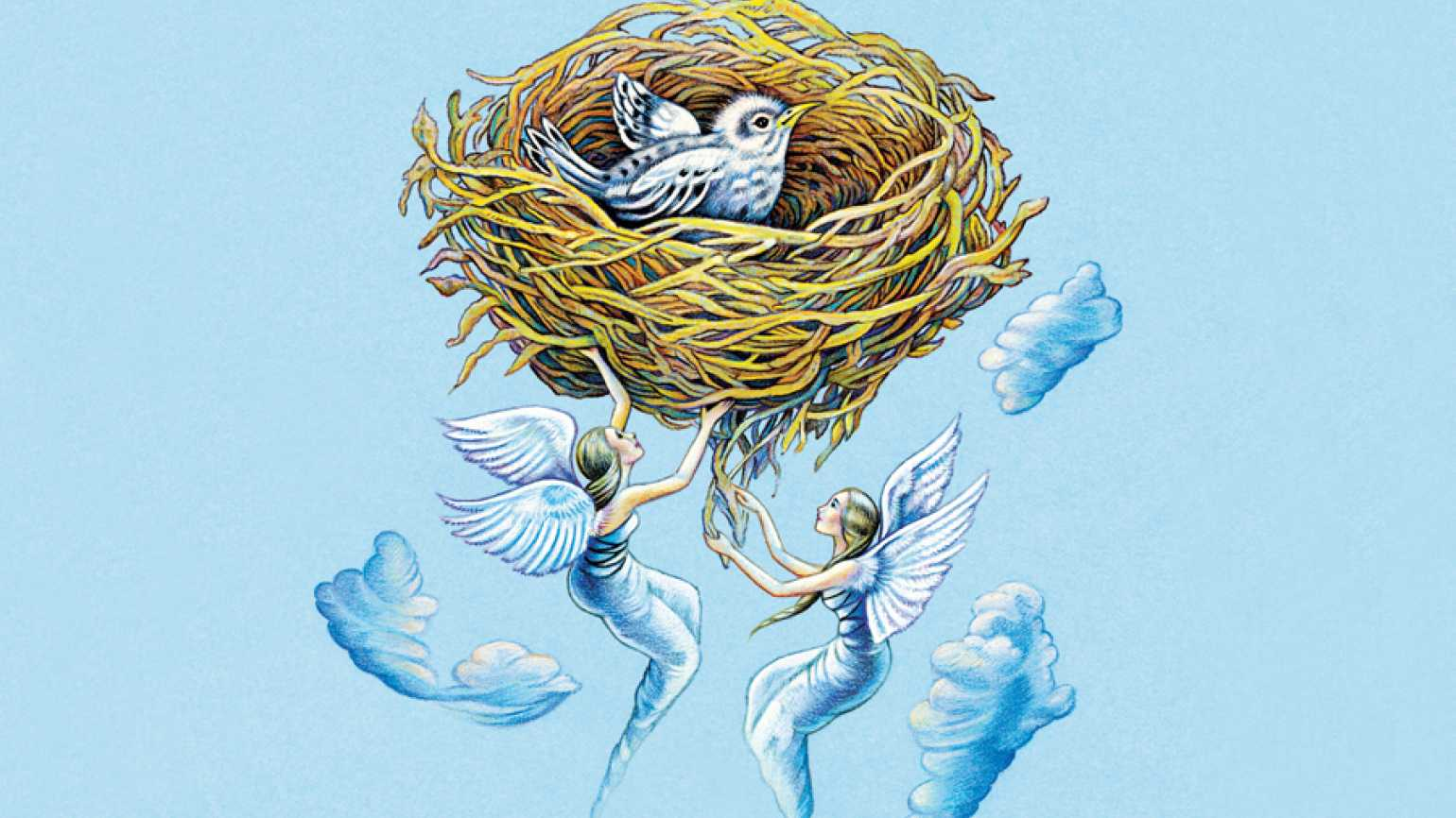 An artist's rendering of two angels tending to a baby bird in a nest