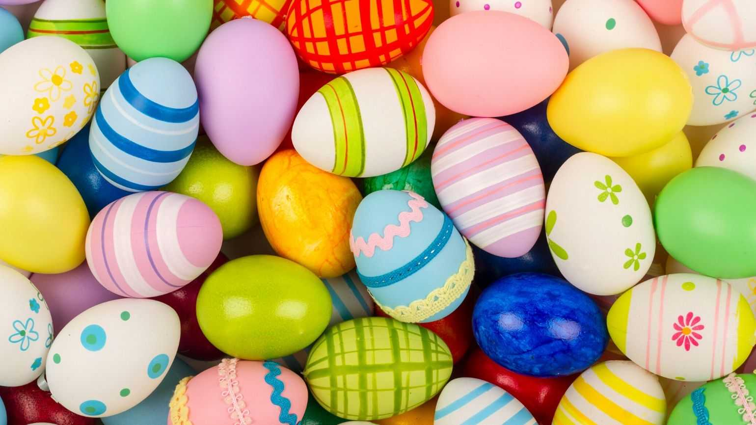 A pile of painted Easter eggs