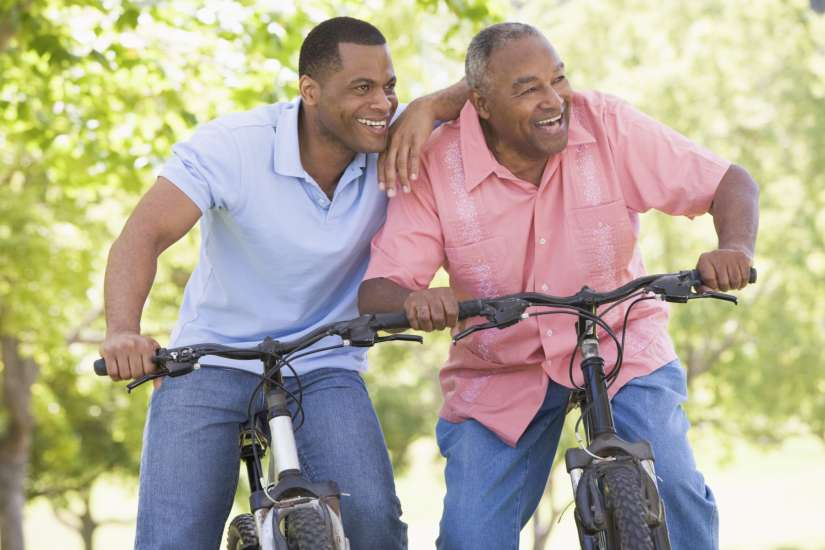 Father and son taking a bike ride on Father's Day