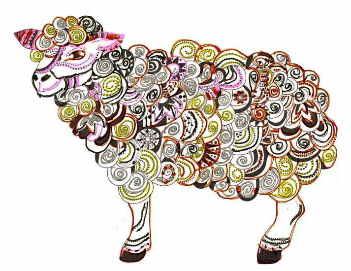 Sheep colored by Judy Cain, Beech Creek, Pennsylvania