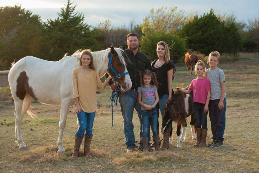 The family didn't expect to rescue horses so soon after moving, but when Natasha and Kirk saw a mare, Cody, and pony, Tobias, on an auction website that listed many mistreated horses, they immediately welcomed the two to their farm.