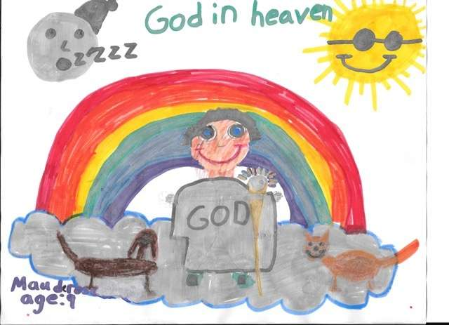 Maude Rose, age 9, sees God in heaven with a cat and a dog in her drawing from the new book, OMG! How Children See God.