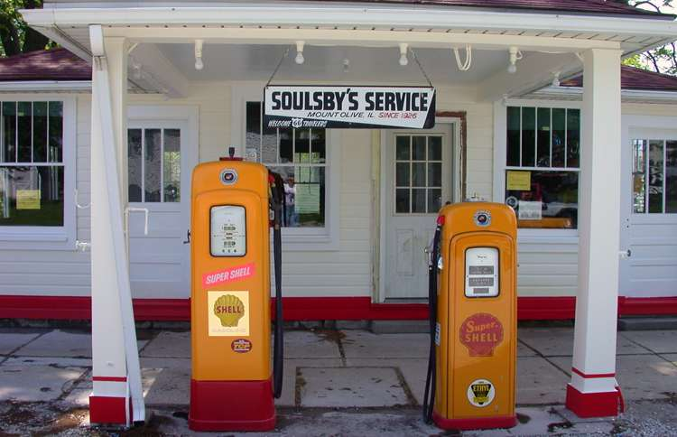 Guideposts: Soulsby's Service Station and its vintage gas pumps still attract Route 66 travelers