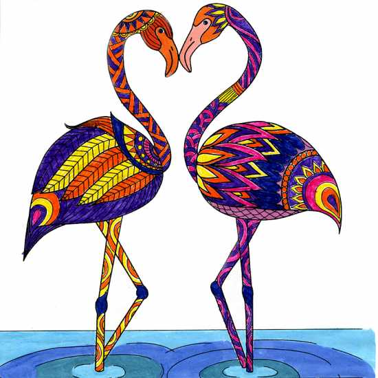 Flamingos colored by Dianne Sander, Waco, Texas