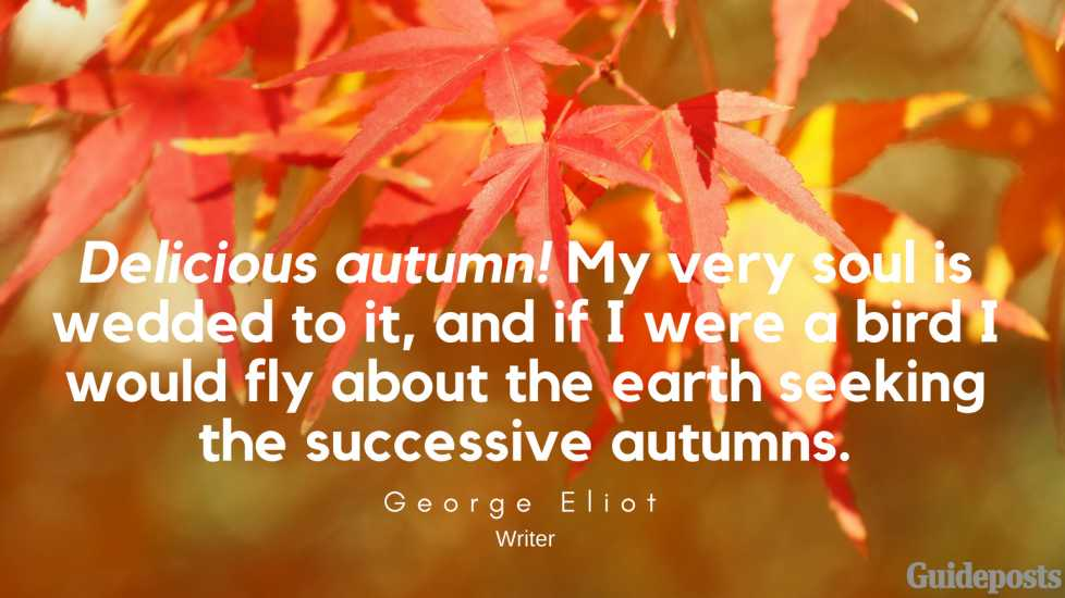 Delicious autumn! My very soul is wedded to it, and if I were a bird I would fly about the earth seeking the successive autumns. —George Eliot