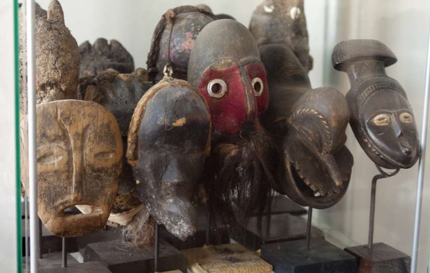Simmons also has treasured African masks in his art collection.