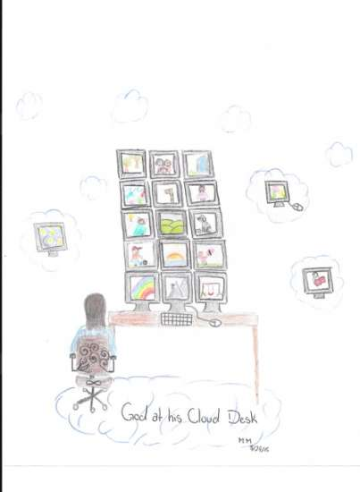 God at his cloud desk in this drawing about God from the new book, OMG! How Children See God.