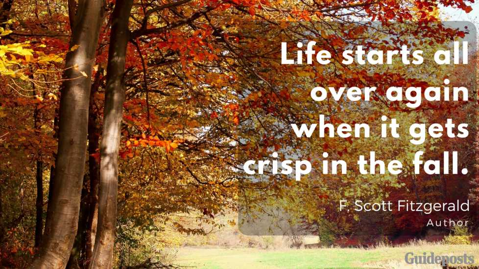 Life starts all over again when it gets crisp in the fall. —F. Scott Fitzgerald