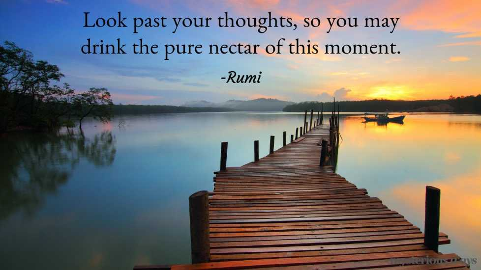 Look past your thoughts, so you may drink the pure nectar of this moment. —Rumi