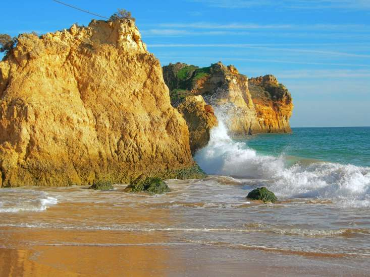The magnificent views found in the Algarve, the most southwesterly point in Europe, include 200–foot cliffs plunging into the Atlantic.