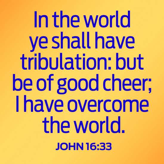 In the world ye shall have tribulation: but be of good cheer; I have overcome the world. John 16:33