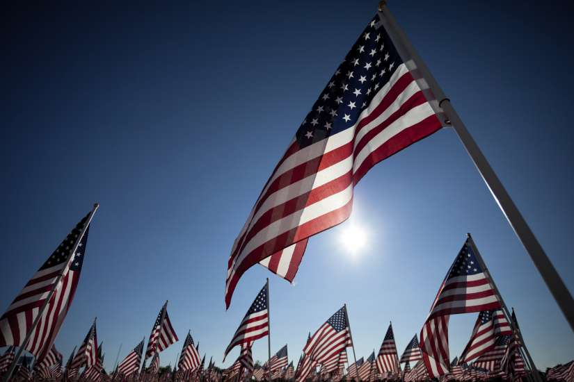 American flags flying for Memorial Day