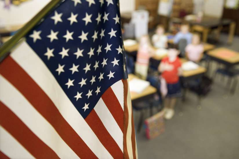 The American flag in a school classroom