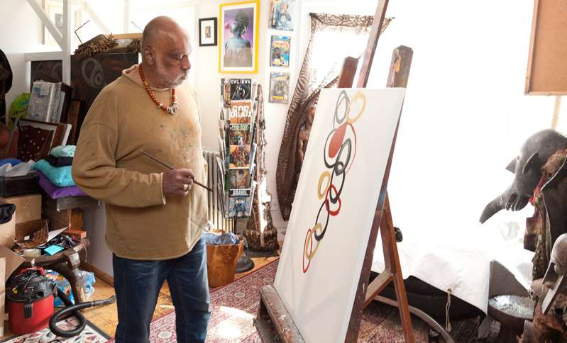 Danny Simmons is inspired to work on a painting in his Brooklyn studio.