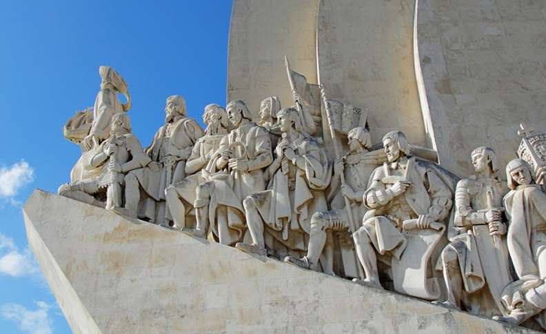 The Monument to Discoveries in Lisbon honors intrepid Portuguese explorers and their patrons.