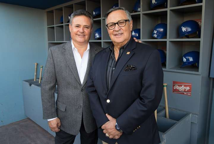 Jorge and Jaime in the home dugout at Dodger Stadium
