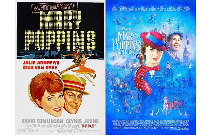 Film posters for Mary Poppins (1964) and Mary Poppins Returns (2018)