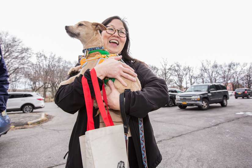 This adopter is ready to go home with her sweet rescue.