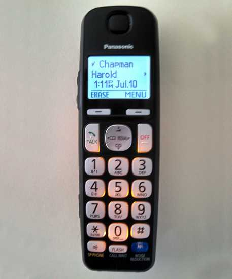 The Chapmans' telephone handset, with Harold's name on the caller ID display