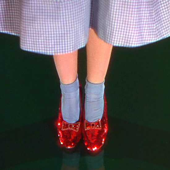 In L. Frank Baum's novel The Wonderful Wizard of Oz, Dorothy's slippers were silver. They were changed to ruby red in the movie to take advantage of the fact that the scenes that took place in Oz were filmed in Technicolor.