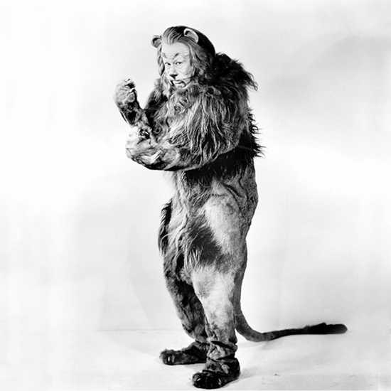 The Cowardly Lion's costume weighed almost 100 pounds and was made with real lion pelts.