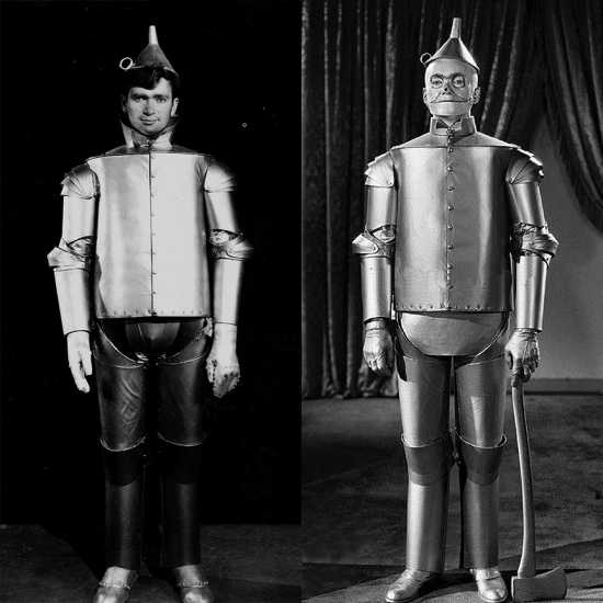 Buddy Ebsen, best remembered as Jed Clampett on The Beverly Hillbillies, was originally cast as the Tin Man, but he suffered a severe allergic reaction to the body makeup, which contained aluminum dust. The studio was forced to turn to Jack Haley to play the role and to use makeup composed of aluminum paste.