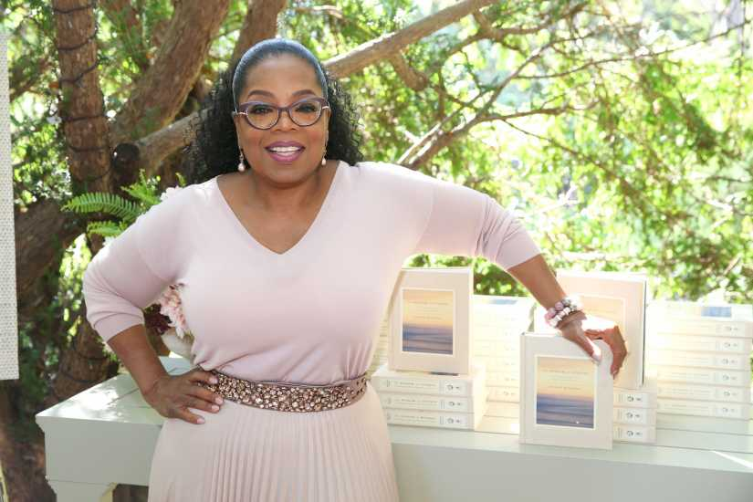 "Oprah Winfrey at her home in Montecito, California celebrating the launch of her new book, ""The Wisdom of Sundays: Life-Changing Insights from Super Soul Conversations"""